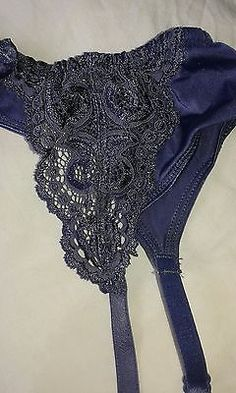 NEW Lepel PURPLE indigo lace suspender belt -  with tags rrp £12 Large