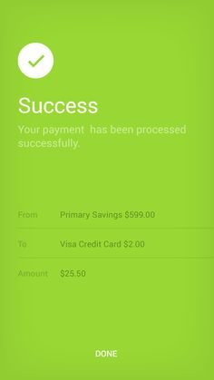 Payment Status UI design for iPhone mobile banking app.