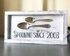 Spooning since sign, home decor, rustic home decor, wedding gift, wall-art, custom year wood sign, anniversary gift, modern country, Gallery Wall Decor, Country Cottage, Framed Sign, Wedding Gifts, Modern Farmhouse, Simple Decor, modern country, diy sign,