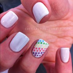 Rainbow polka dots nail art: multicolor multicolour design on accent nail: white base with small polka dots (purple, red, pink, green, blue, yellow) #spring #summer 2013 easy