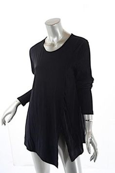 c7ce990c55d ALEMBIKA Black Rayon Blend Knit Asym. Tunic Top with Rib Sleeves NWT Sz 4  $169