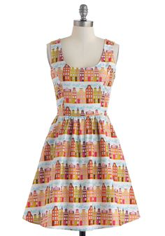 Rainbow Row Dress in Citrus. Upon returning home after a weekend in historic Charleston, you snatch up this colorful, printed dress to remind yourself of the beauty and joy you found there. #orange #modcloth