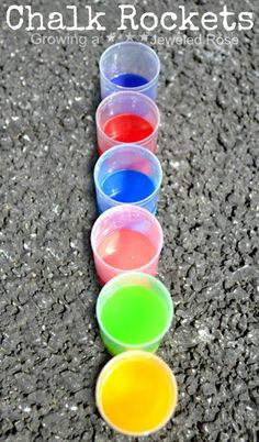 Chalk Rockets- these chalk filled rockets fly high into the air, creating beautiful exploding art all over the pavement. Way too FUN! (only a few materials needed for this fun activity, too!)