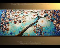 Original a Majestic Cherry Tree Oil Acrylic palette by Artcoast