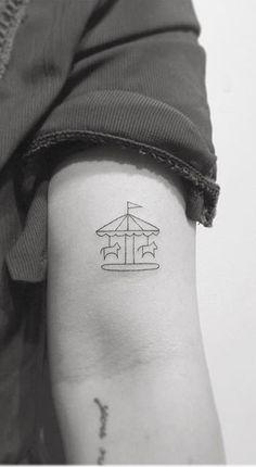 75 More Small Tattoo Ideas from Playground Tattoo Minimalist Carousel Arm Tattoo Mini Tattoos, Cherry Tattoos, Star Tattoos, Trendy Tattoos, Finger Tattoos, Cute Tattoos, New Tattoos, Small Arm Tattoos, Tatoos