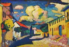A Village Street by Wassily Kandinsky Blue Rider, Wassily Kandinsky Paintings, Fauvism, Post Impressionism, Mondrian, Art Lessons, Art History, Abstract Art, Street