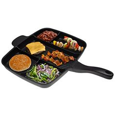 """The Master Pan Non-Stick Divider Meal Skillet 15"""" Grill Fry Oven Camping"""