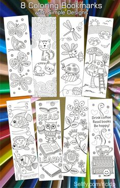 Here's a set of simple yet beautiful coloring bookmarks that would appeal to both kids and adults. Bookmarks Diy Kids, Free Printable Bookmarks, Bookmark Template, Paper Bookmarks, Bookmark Craft, Cross Stitch Bookmarks, Handmade Bookmarks, Corner Bookmarks, Cool Coloring Pages