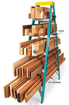 Using an inexpensive 6 ft ladder with plywood supports, if needed, to store your planks off the floor and sorted. Great space saver!