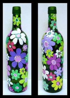 Wine Bottle Crafts – Make the Best Use of Your Wine Bottles – Drinks Paradise Glass Bottle Crafts, Wine Bottle Art, Painted Wine Bottles, Lighted Wine Bottles, Diy Bottle, Painted Wine Glasses, Glass Bottles, Mosaic Bottles, Bottle Painting
