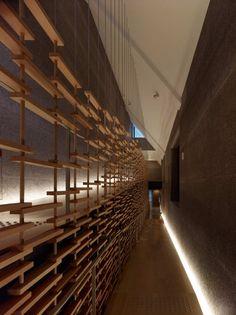 Momofuku Ando Center / Kengo Kuma & Associates © Daici Ano by debbie Modern Residential Architecture, Japanese Architecture, Architecture Details, Interior Architecture, Interior Design, Installation Architecture, Wooden Architecture, Building Architecture, Kengo Kuma