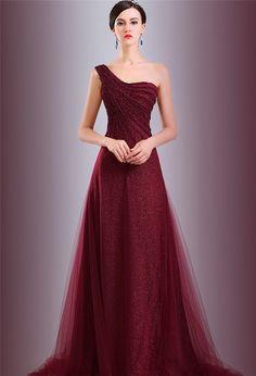 A Line One Shoulder Long Burgundy Tulle Sequined Evening Prom Dress