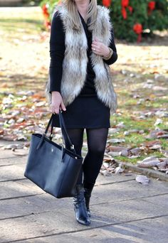 A knit dress with tights and boots is a great outfit to style in the wintertime.