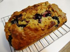 Blueberry Banana Nut Bread made with organic Einkorn flour, raw milk, and organic bananas and blueberries.