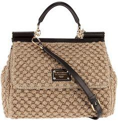 Bags & Handbag Trends : dolce and gabbana boucle purse - Flashmode Worldwide Trendy Handbags, Fashion Handbags, Purses And Handbags, Leather Handbags, Crochet Shoes, Crochet Handbags, Shopper Bag, Branded Bags, Knitted Bags