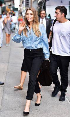 Elizabeth Olsen Blue Shirt Black Jeans
