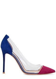 Hand-finished Gianvito Rossi blue and fuchsia suedepumps Heel measures approximately 4 inches/ 100mm  Perspex panels, pointed toe  Slip on