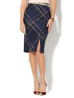 Shop 7th Avenue Design Studio - Pencil Skirt - Front Slit - Modern Fit - Navy Plaid . Find your perfect size online at the best price at New York & Company.