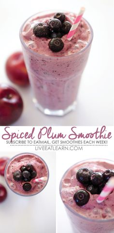 This healthy Spiced Plum Smoothie recipe is full of fresh fruit, Greek yogurt protein, and cinnamon. The perfect solution for an on-the-go breakfast or snack. // Live Eat Learn