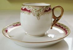 Ornate 2 PC VTG LIMOGES LRL Demitasse Coffee Espresso Cup & Saucher Gold Daisy   | eBay