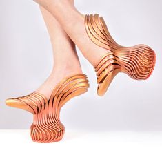 """Israel designer Neta Soreq: """"My shoe design came from studying hyperactive people, with a focus on different therapy treatments that direct the energy in the body,"""" said Soreq, who created the shoes while studying at the Bezalel Academy of Arts and Design near Jerusalem.  """"I was inspired by the structure of the muscles and the natural movement of the foot in different positions."""""""