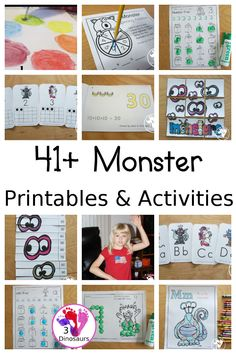35+ Monster Printables & Activities - with colors, math, ABCs, numbers, crafts, sensory bins, and more all learning with a fun monster theme - 3Dinosaurs.com #monsterprintable #monsteractivities #3dinosaurs #craftsforkids #printables Monster Activities, Monster Crafts, Sorting Activities, Language Activities, Activities For Kids, Crafts For Kids, Yarn Monsters, Funny Monsters, Monster Bookmark