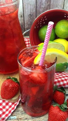 Southern Strawberry Sweet Tea  Ingredients 3 Cups water in pot 6 Tea Bags 1 Cup sugar  7 Cups of water in a pitcher  1 Lemon juiced  1/2 Lime juiced  1 basket of fresh Strawberries