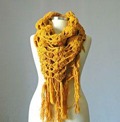 Crochet shawl scarf winter Neck Warmer dirty yellow by yarnisland, $22.50