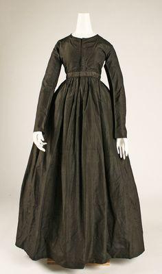 Dress: ca. 1840, American, silk.classic- note the highish waist, lengthening the skirt silhouette.