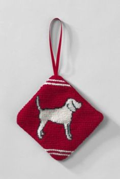 Dog Needlepoint Dog Ornament from Lands' End