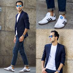 Jeans, Converse, T-shirt (white, gray, blue, black), blue blazer