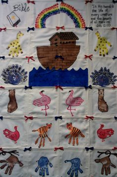 """Bible / Noah's Ark themed preschool class hand print quilt: """"In His hand is the life of every creature and the breath of all mankind."""" (Job 12:10)"""