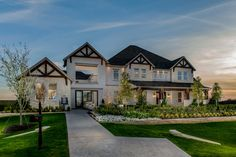 Take delight in the gorgeous exterior of the Monte Verde home design at Lake Town at Flower Mound in Flower Mound, TX.