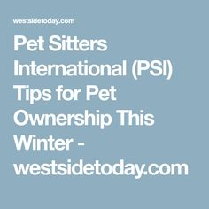 Pet Sitters International (PSI) Tips for Pet Ownership This Winter - westsidetoday.com