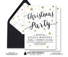 CHRISTMAS PARTY INVITATIONS Gold Glitter Snowflakes Holiday Card Black + Gold Ready Made Cards or DiY Printable Christmas Invites - Stella style. Black envelopes and matching envelope liners also available. Only at digibuddha.com