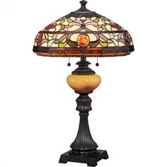 "Quoizel TF1575TIB Tiffany Jewel with Imperial Bronze Finish Table Lamp. Product Design Style: Traditional. Product Finish: Imperial Bronze - Dark bronze with antique gold highlights and semi gloss finish. Product Electrical: 2-75W A19 Medium Base (18W CFL). Product Shade: Tiffany Glass - 16"" x 8"" Tiffany Glass Shade Contains 363 Pieces of Tiffany Glass. Product Warranty: Lifetime Warranty on all Electrical Parts."