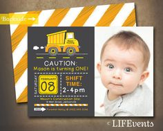 Dump Truck Construction Birthday Invitation by LIFEvents on Etsy