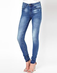 Image 1 ofASOS Ridley Supersoft high waisted ultra skinny jeans in Light Stonewash