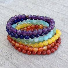 New Arrival: A full set of seven bright and happy chakra bracelets to wear together as a stack or individually mix and match...these will liven up any outfit. http://www.bighappybuddha.com/seven-chakra-stack-bracelets.html