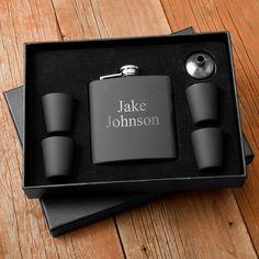 Personalized Matte Black Flask & Shot Glass Box Set