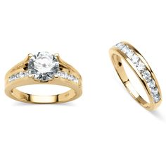 3.08 TCW Round Cubic Zirconia 2 Piece Bridal Ring Set in 18k Gold Over Sterling Silver at PalmBeach
