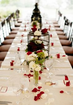 white and red wedding reception - nimita and greg's real fusion wedding Red Wedding Receptions, Outdoor Wedding Reception, Reception Table, Table Wedding, Reception Ideas, Wedding Titles, Gold Centerpieces, Centerpiece Ideas, Red And White Weddings
