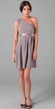 I really like one-shoulder styles because it flatters so many different body types. I love this pewter color too.