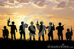 Silhouette Of  Soldiers Team With Sunrise Background Stock Photo - Image: 43441040
