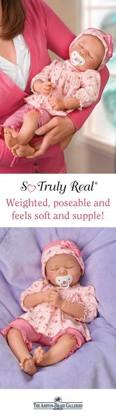 This silicone baby doll by Master Doll Artist Marissa May is a joy to hold and a treasure to behold. She feels so real nestled in your arms and is ready for snuggles in a two-piece floral outfit and matching hat. Don't wait to make her yours - Shop Now!