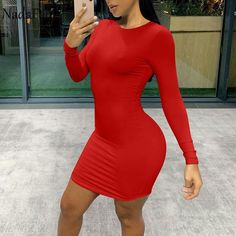 Blush Dresses, Sexy Dresses, Nice Dresses, Short Dresses, Yellow Fashion, Red Fashion, White Long Sleeve, Casual Dresses For Women, Bodycon Dress