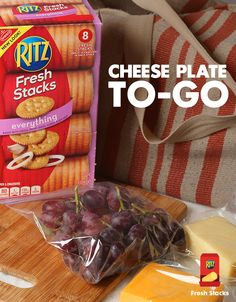 Bring a cheese plate to a party without having to assemble it before! RITZ Fresh Stacks are the perfect size to tuck away in a bag. Don't forget a garnish like grapes and, of course, cheese!