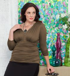 I need this bronze ruched top...Kiyonna Clothing: Sadie Ruched Top