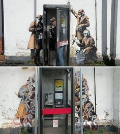 Banksy's GCHQ grafitti before and after being vandalised
