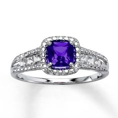 Amethyst Ring with Sapphires Sterling Silver